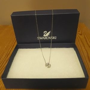 AUTH Swarovski necklace with round crystal pendant